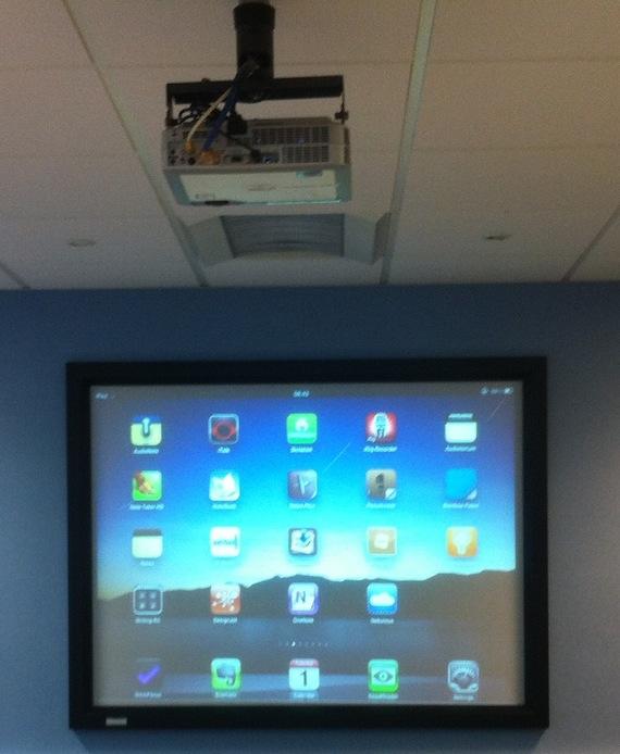 iPad displayed on a projector