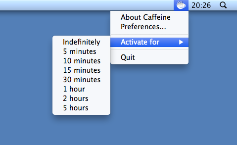 Caffeine for Mac Options